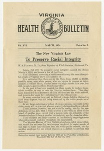 """""""The New Virginia Law to Preserve Racial Integrity,"""" from Virginia Health Bulletin, vol. XVI, March 1924, Extra No. 2"""