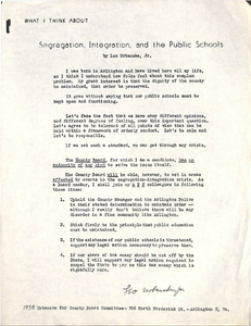 What I Think About Segregation, Integration, and the Public Schools, by Leo Ubanske