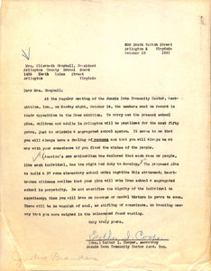 Letter, Esther Cooper, Jennie Dean Community Center Association, about opposition to Drew School expansion, October 18, 1961