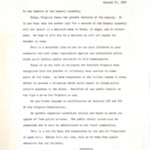 "Letter to the ""Members of the General Assembly"" from the Arlington Committee to Preserve Schools, January 27, 1959."